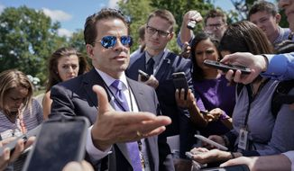 In this July 25, 2017, file photo, White House Communications Director Anthony Scaramucci speaks to members of the media at the White House in Washington. Scaramucci is out as White House communications director after just 11 days on the job. (AP Photo/Pablo Martinez Monsivais) ** FILE **
