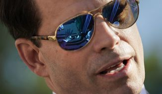 In this July 25, 2017 photo, former White House communications director Anthony Scaramucci speaks to members of the media outside the White House in Washington. (AP Photo/Pablo Martinez Monsivais)