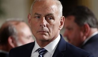 White House Chief of Staff John Kelly appears at event where President Donald Trump was to bestow the Medal of Honor to retired Army medic James McCloughan during a ceremony in the East Room of the White House in Washington, Monday, July 31, 2017.(AP Photo/Pablo Martinez Monsivais)