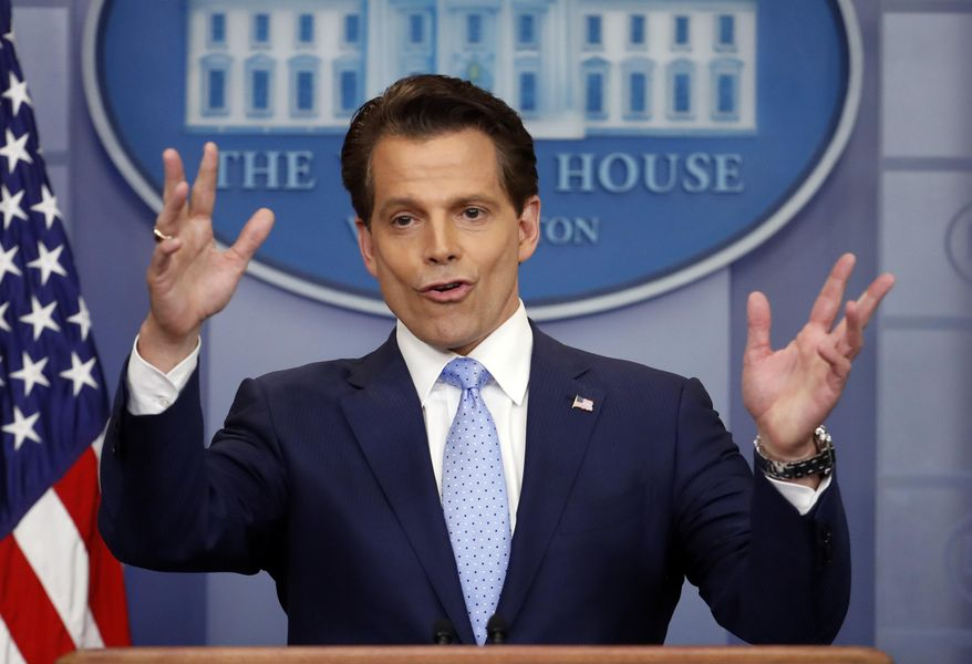 In this July 21, 2017, file photo, White House Communications Director Anthony Scaramucci speaks to members of the media in the Brady Press Briefing room of the White House in Washington. Scaramucci is out as White House communications director after just 11 days on the job. (AP Photo/Pablo Martinez Monsivais) ** FILE **