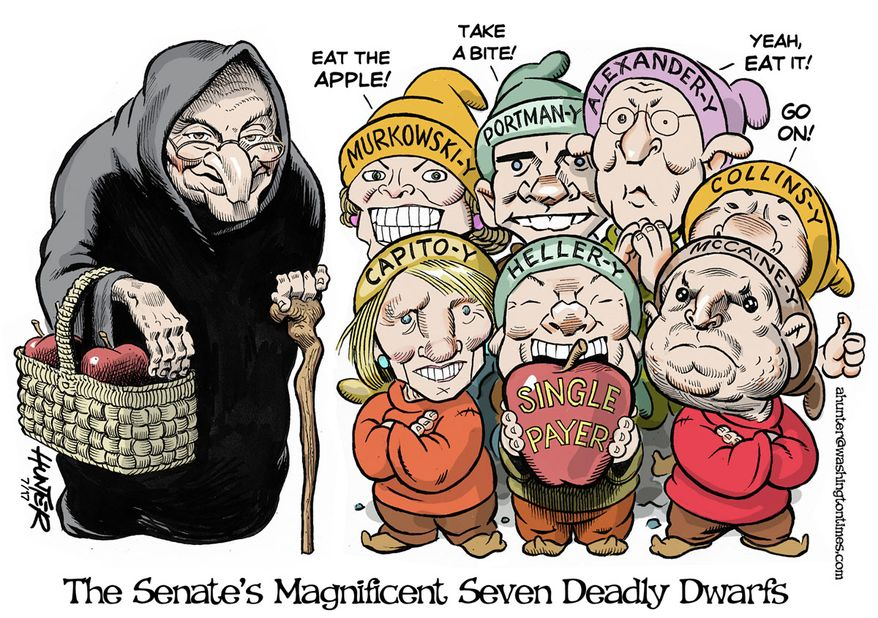 The Senate's Magnificent Seven Deadly Dwarfs (Illustration by Alexander Hunter for The Washington Times)