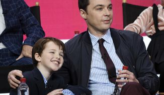 "Iain Armitage, left, a cast member in the CBS series ""Young Sheldon,"" and executive producer/narrator Jim Parsons take part in a panel discussion during the 2017 Television Critics Association Summer Press Tour on Tuesday, August 1, 2017, in Beverly Hills, Calif. (Photo by Chris Pizzello/Invision/AP)"