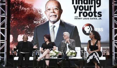 "Henry Louis Gates Jr., from left, Ana Navarro, Ted Danson and Janet Mock participate in the ""Finding Your Roots"" panel during the PBS portion of the 2017 Summer TCA's at the Beverly Hilton Hotel on Monday, July 31, 2017, in Beverly Hills, Calif. (Photo by Richard Shotwell/Invision/AP)"