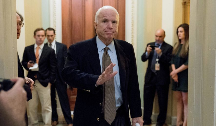 Sen. John McCain, Arizona Republican, sent shock waves through the Senate early Friday, July 28, 2017, when he cast the deciding vote rejecting his party's effort to repeal and replace the Democrat-crafted Affordable Care Act. (Associated Press)