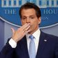 In this July 21, 2017 photo, incoming White House communications director Anthony Scaramucci, right, blowing a kiss after answering questions during the press briefing in the Brady Press Briefing room of the White House in Washington. Scaramucci is out as White House communications director after just 11 days on the job.  A person close to Scaramucci confirmed the staffing change just hours after President Donald Trumps new chief of staff, John Kelly, was sworn into office. (AP Photo/Pablo Martinez Monsivais)