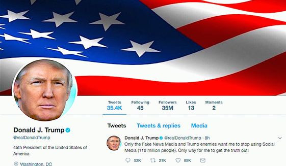 A screenshot of President Donald Trump's Twitter account. (Twitter)