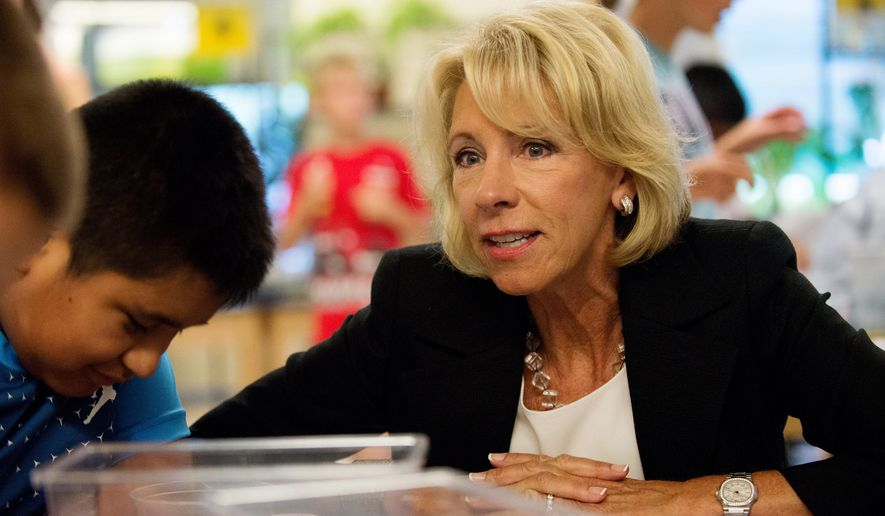 """""""If my work in education over the last three decades has taught me anything, it's that parents and local leaders — not Washington bureaucrats — know best,"""" said Education Secretary Betsy DeVos. (Associated Press/File)"""