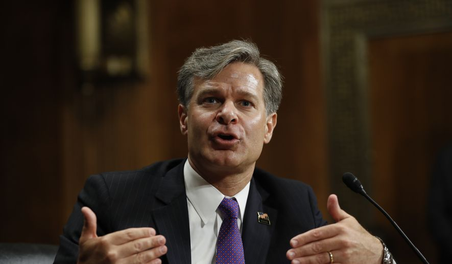 Then-FBI Director nominee Christopher Wray testifies on Capitol Hill in Washington at his confirmation hearing before the Senate Judiciary Committee on July 12, 2017. (Associated Press) **FILE**