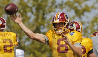 Washington Redskins quarterback Kirk Cousins (8) tosses a pass during practice at the Washington Redskins NFL training camp in Richmond, Va., Tuesday, Aug. 1, 2017. (AP Photo/Steve Helber)