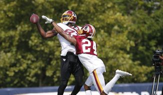 Washington Redskins cornerback Josh Norman (24) tries to knock the ball out of the hands of Washington Redskins wide receiver Brian Quick (83) during practice at the Washington Redskins NFL training camp in Richmond, Va., Tuesday, Aug. 1, 2017. (AP Photo/Steve Helber)