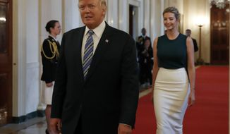 """President Donald Trump, followed by his daughter Ivanka Trump, walks to the East Room of the White House in Washington, Tuesday, Aug. 1, 2017, to speak with small business owners as part of """"American Dream Week.""""  (AP Photo/Alex Brandon)"""