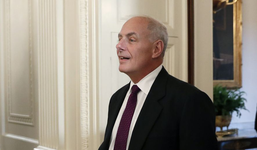 "White House Chief of Staff John Kelly stands in the East Room of the White House in Washington, Tuesday, Aug. 1, 2017, before President Donald Trump arrived to speak with small business owners as part of ""American Dream Week."" (AP Photo/Alex Brandon)"