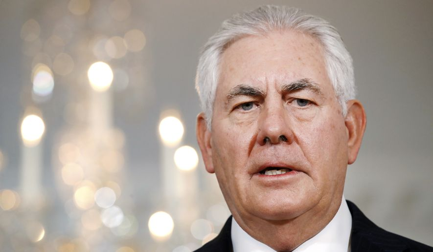 "In this July 21, 2017, file photo, Secretary of State Rex Tillerson speaks at the State Department in Washington. Tillerson says neither he nor President Donald Trump is ""very happy"" about new sanctions on Russia that Congress has voted to put in place.  (AP Photo/Jacquelyn Martin, File)"