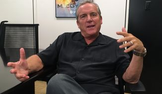 Brad Nessler gestures while speaking in New York, Tuesday, Aug. 1, 2017. Nessler is the new voice of the SEC on CBS, taking over for Verne Lundquist, who had become an adored institution on Saturday afternoons in the fall. Nessler will be working with longtime analyst Gary Danielson. (AP Photo/Ralph Russo)