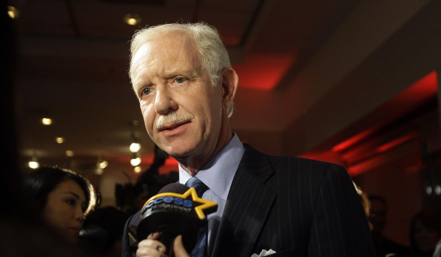 """In this Jan. 5, 2010 file photo, Chesley Sullenberger responds to questions during a news interview as he arrives for the screening of a documentary entitled """"Brace for Impact,"""" in New York. (AP Photo/Frank Franklin II, File)"""