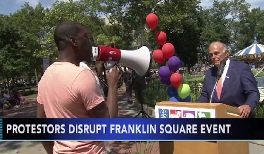 """Black Lives Matter protesters shouted down former Pennsylvania Gov. Ed Rendell during a children's event Monday, saying """"no politician will be safe"""" until justice is served in the fatal police-involved shooting of an armed black man. (ABC 6)"""