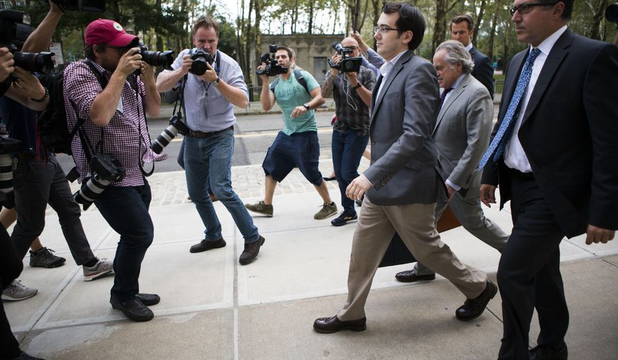 Former pharmaceutical CEO Martin Shkreli leaves the U.S. District Court for the Eastern District of New York on Monday, July 31, 2017, in the Brooklyn borough of New York. Jurors finished their first day of deliberations in the federal securities fraud trial of Shkreli without reaching a verdict. They are expected back on Tuesday to continue deliberating on the charges he faces. (AP Photo/Michael Noble Jr.)