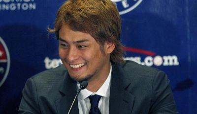 FILE - In this Jan. 20, 2012, file photo, new Texas Rangers baseball pitcher Yu Darvish smiles during a news conference at Rangers Ballpark in Arlington, Texas. When Yu Darvish arrived in Texas from Japan in 2012, the Rangers were coming off consecutive World Series appearances. With a third straight AL West title long out of reach, and the push for a wild card becoming ever more difficult with each loss, the Rangers dealt the pitcher they spent more than two years scouting and more than $107 million to acquire for three minor league players.(AP Photo/LM Otero, File)