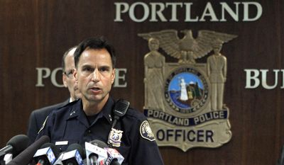 FILE--In this Sept. 13, 2012, file photo, Portland Sheriff Michael Reese speaks during a news conference at the Justice Center in Portland, Ore. Reese, as current Multnomah County Sheriff in Portland, and federal authorities are blaming each other for the case of a Mexican man who has been deported from America at least 13 times and who allegedly assaulted two women within days of being released from jail. (AP Photo/Don Ryan, file)