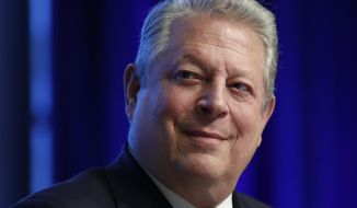 "In this April 21, 2017, file photo, former Vice President Al Gore participates in the ""Unlocking Financing For Climate Action"" session during the G20 at the 2017 World Bank Group Spring Meetings in Washington. (AP Photo/Carolyn Kaster, File)"