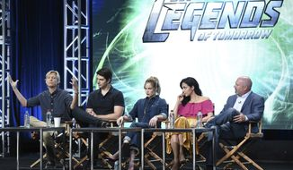 """Phil Klemmer, from left, Brandon Routh, Caity Lotz, Tala Ashe and Marc Guggenheim participates in the """"DC's Legends of Tomorrow"""" panel during The CW portion of the 2017 Summer TCA's at the Beverly Hilton Hotel on Wednesday, Aug. 2, 2017, in Beverly Hills, Calif. (Photo by Richard Shotwell/Invision/AP)"""