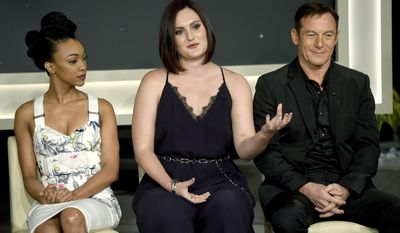 "Sonequa Martin-Green, from left, Mary Chieffo and Jason Isaacs participate in the ""Star: Trek Discovery"" panel during the CBS Television Critics Association Summer Press Tour at CBS Studio Center on Tuesday, Aug. 1, 2017, in Beverly Hills, Calif. (Photo by Chris Pizzello/Invision/AP)"