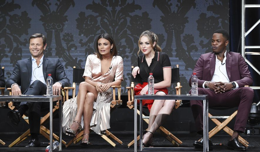 "Grant Show, from left, Nathalie Kelley, Elizabeth Gillies and Sam Adegoke participate in the ""Dynasty"" panel during The CW portion of the 2017 Summer TCA's at the Beverly Hilton Hotel on Wednesday, Aug. 2, 2017, in Beverly Hills, Calif. (Photo by Richard Shotwell/Invision/AP)"