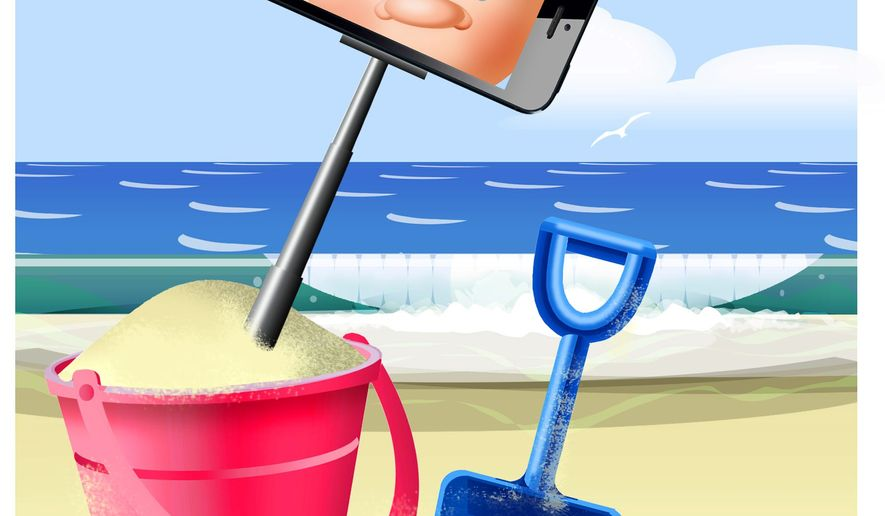 Illustration on summertime in the age of selfies by Alexander Hunter/The Washington Times