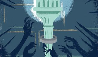 Illustration on the growth of government by Linas Garsys/The Washington Times