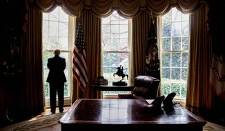 President Trump works out of the imposing Oval Office, but the West Wing of the White House is mainly a rabbit warren of cramped offices that seem inadequate for the powerful people who occupy them. (Associated Press)