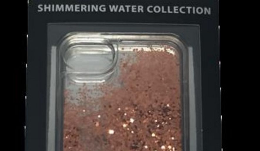 A recall was issued for over 260,000 iPhone cases with a glittery liquid mix. (Images: U.S. Consumer Product Safety Commission)