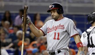 Washington Nationals' Ryan Zimmerman (11) reacts after striking out during the fifth inning of the team's baseball game against the Miami Marlins, Wednesday, Aug. 2, 2017, in Miami. (AP Photo/Lynne Sladky)