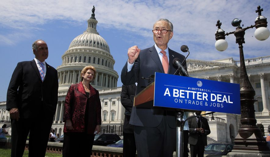 "Senate Minority Leader Chuck Schumer of N.Y., accompanied by, from left, Sen. Bob Casey, D-Pa., and Sen. Debbie Stabenow, D-Mich., speaks on Capitol Hill in Washington, Wednesday, Aug. 2, 2017, to unveil ""A Better Deal On Trade and Jobs,"" to put American workers first and fight back against companies that outsource jobs and countries that manipulate trade laws. (AP Photo/Manuel Balce Ceneta)"