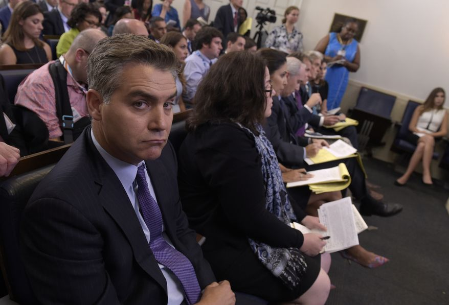 Jim Acosta of CNN listens during the daily briefing at the White House in Washington, on Wednesday, Aug. 2, 2017. (AP Photo/Susan Walsh) ** FILE **