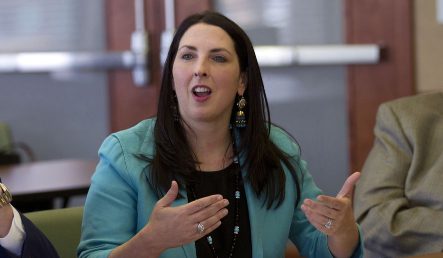 Republican National Committee Chairwoman Ronna Romney McDaniel addresses Hispanic business owners and community members at the Lansing Regional Chamber of Commerce in Lansing, Mich., in this May 5, 2017, file photo. (AP Photo/Christopher Hermann, File)