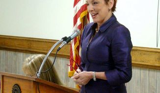 FILE - In this 2013 file photo, U.S. District Court Judge Patricia Minaldi speaks during the Empowering Women Luncheon in Sulphur, La. Minaldi retired several months after taking medical leave for treatment of severe alcoholism, a court official said Wednesday, Aug. 2, 2017. (Marilyn Monroe/American Press via AP, File)