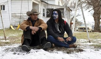"""This image released by The Weinstein Company shows Jeremy Renner, left, and Gil Birmingham in a scene from """"Wind River."""" (Fred Hayes/The Weinstein Company via AP)"""