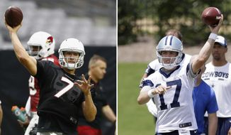FILE - At left, in a July 24, 2017, file photo, Arizona Cardinals quarterback Blaine Gabbert throws a pass during an NFL football training camp, in Glendale, Ariz. At right, in a June 13, 2017, file photo, Dallas Cowboys quarterback Kellen Moore throws a pass during an NFL football practice at the team's training facility, in Frisco, Texas. Don't look for too many stars to be on the field Thursday night when the Cowboys and Cardinals kick off the NFL preseason in the Pro Football Hall of Fame game. Don't look for many starters, either. Cowboys' Kellen Moore (17) is likely to see his first action since the end of the 2015 season with the Cowboys, when he made his first two career starts. Blaine Gabbert (7) will take on quarterback duties for the Cardinals.(AP Photo/File)