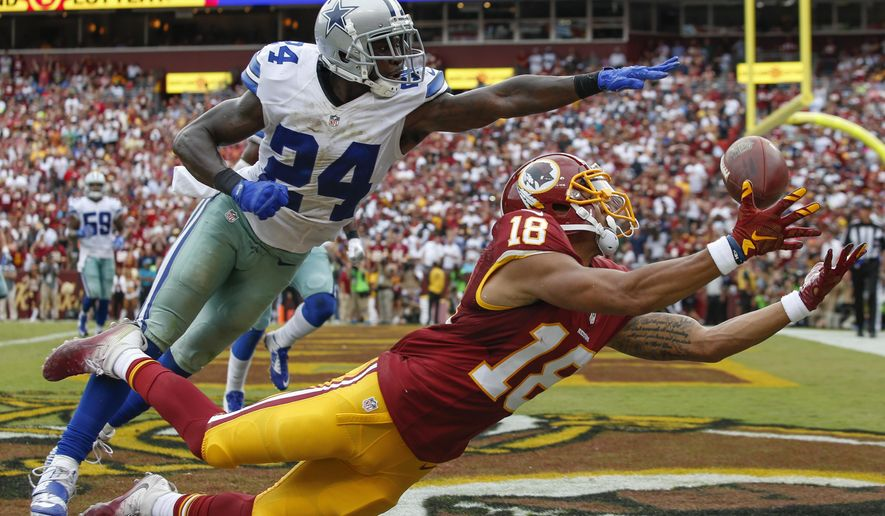FILE - In this Sept. 18, 2016, file photo, Dallas Cowboys cornerback Morris Claiborne (24) breaks up a pass in the end zone intended for Washington Redskins wide receiver Josh Doctson (18) during the second half of an NFL football game in Landover, Md. After five seasons in Dallas, Claiborne is getting a fresh start with the New York Jets and focused on staying healthy and being a No. 1 cornerback for his new team. (AP Photo/Alex Brandon, File)