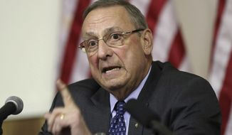 "FILE - In this Wednesday, March 8, 2017, file photo, Maine Gov. Paul LePage speaks at a town hall meeting, in Yarmouth, Maine. LePage has some choice words for the state's senators after their health care vote, calling fellow Republican Susan Collins and independent Angus King ""dangerous."" LePage targeted them in an op-ed published Wednesday, Aug. 2, in the Wall Street Journal after they voted against a GOP proposal to repeal parts of ""Obamacare."" (AP Photo/Robert F. Bukaty, File)"