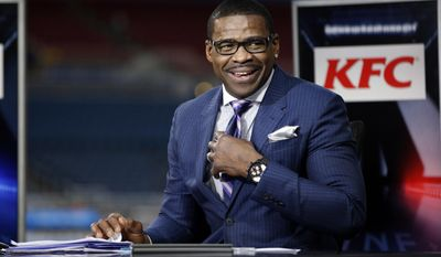 "FILE - In this Dec. 17, 2015, file photo, Michael Irvin takes part in the NFL Network's Thursday Night Football broadcast before the start of an NFL football game between the St. Louis Rams and the Tampa Bay Buccaneers in St. Louis. Attorney Gloria Allred blasted Florida prosecutors saying they violated the privacy of her client, who accused Michael Irvin of sexual assault. Allred told a Fort Lauderdale press conference Wednesday, Aug. 2, 2017 the statement issued by Broward County prosecutors last week when they decided not to charge Irvin was ""irresponsible."" (AP Photo/Billy Hurst, File)"