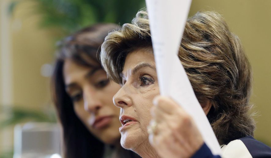 """Civil rights attorney Gloria Allred, right, talks to reporters as Erica Berg, left, who accused broadcast personality and former Dallas Cowboys player Michael Irvin of drugging and sexually assaulting her last March at a Fort Lauderdale hotel, listens, during a news conference, Wednesday, Aug. 2, 2017, in Fort Lauderdale, Fla. Allred said Wednesday, the statement issued by Broward County prosecutors last week when they decided not to charge Irvin was """"irresponsible."""" She's angry the statement included details of Erica Berg's prescription and illicit drug use. (AP Photo/Alan Diaz)"""