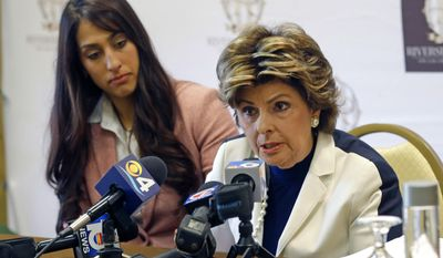"Civil rights attorney Gloria Allred, right, talks to reporters as Erica Berg, left, who accused broadcast personality and former Dallas Cowboys player Michael Irvin of drugging and sexually assaulting her last March at a Fort Lauderdale hotel, listens, during a news conference, Wednesday, Aug. 2, 2017, in Fort Lauderdale, Fla. Allred said Wednesday, the statement issued by Broward County prosecutors last week when they decided not to charge Irvin was ""irresponsible."" She's angry the statement included details of Erica Berg's prescription and illicit drug use. (AP Photo/Alan Diaz)"