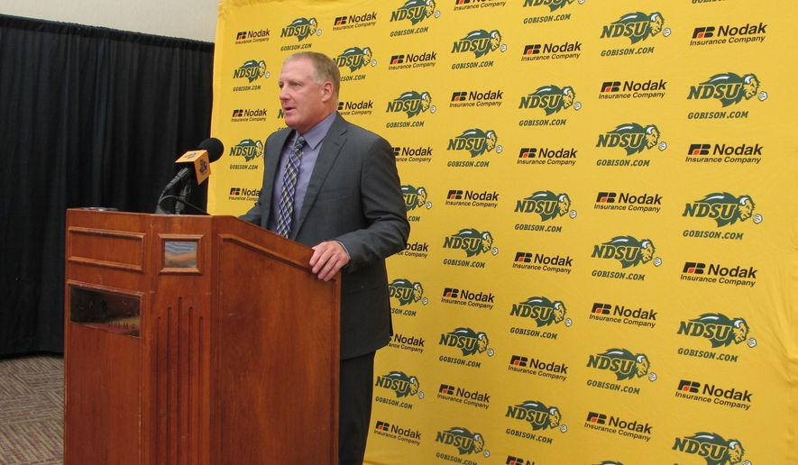 North Dakota State coach Chris Klieman speaks during the NCAA college football team's media day Wednesday, Aug 2, 2017 in Fargo, N.D. This is the first time in six years that the Bison will not be defending a Football Subdivision Championship, but Klieman says the first day of fall camp does not feel any different. The Bison lost to James Madison last year in the semifinals, the school's first playoff loss since 2010. (AP Photo/Dave Kolpack)