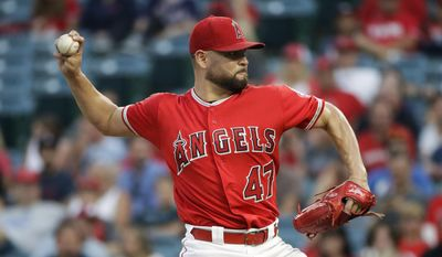 Los Angeles Angels starting pitcher Ricky Nolasco throws to a Philadelphia Phillies batter during the first inning of a baseball game, Tuesday, Aug. 1, 2017, in Anaheim, Calif. (AP Photo/Jae C. Hong)