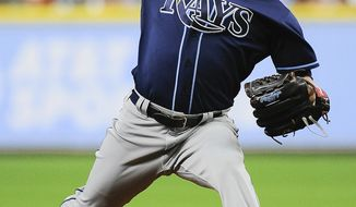 Tampa Bay Rays starting pitcher Austin Pruitt throws during the first inning of the team's baseball game against the Houston Astros, Wednesday, Aug. 2, 2017, in Houston. (AP Photo/Eric Christian Smith)
