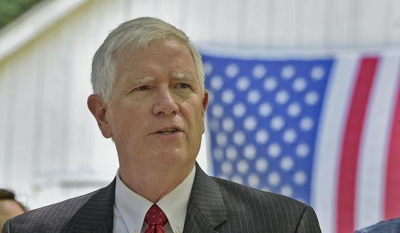 In this May 15, 2017, photo, Alabama Congressman Mo Brooks announces his candidacy for the U.S. Senate in Huntsville, Ala. (Bob Gathany/AL.com via AP, File)