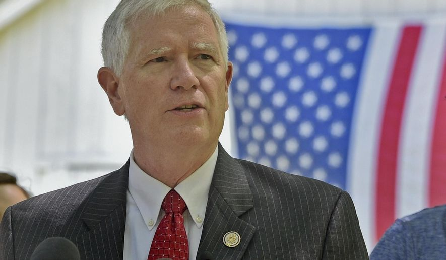 In this May 15, 2017, photo, Alabama Congressman Mo Brooks announces his candidacy for the U.S. Senate in Huntsville, Ala. Brooks is in a heated Republican primary with incumbent Sen. Luther Strange and former state Chief Justice Roy Moore, who was twice removed from his duties after losing battles on gay marriage and the public display of the Ten Commandments. Voters are being asked to decide which brand of conservatism they prefer. (Bob Gathany/AL.com via AP, File)