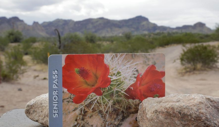 An America the Beautiful Lifetime Senior Pass is shown at Bull Dog Canyon in the Tonto National Forest in Fort McDowell, Ariz., Tuesday, Aug. 1, 2017. Seniors are snapping up so many lifetime passes good for national parks and other federal recreation sites ahead of a big price increase later this month that government agencies have started a rain check policy. The America the Beautiful Lifetime Senior Pass available to buyers 62 and older costs $10 but is going up 700 percent to $80 on Aug. 28. (AP Photo/Matt York)