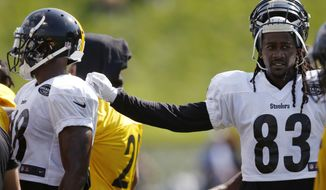 In this photo from July 28, 2017, Pittsburgh Steelers wide receivers Cobi Hamilton (83) and Darrius Heyward-Bey take a break during practice at NFL football training camp in Latrobe, Pa. The Steelers won't lack for options at wide receiver heading into 2017. From rookie JuJu Smith-Schuster to mercurial Martavis Bryant to erratic Sammie Coats to veteran Justin Hunter, the picture behind Antonio Brown is crowded and cloudy. (AP Photo/Keith Srakocic)